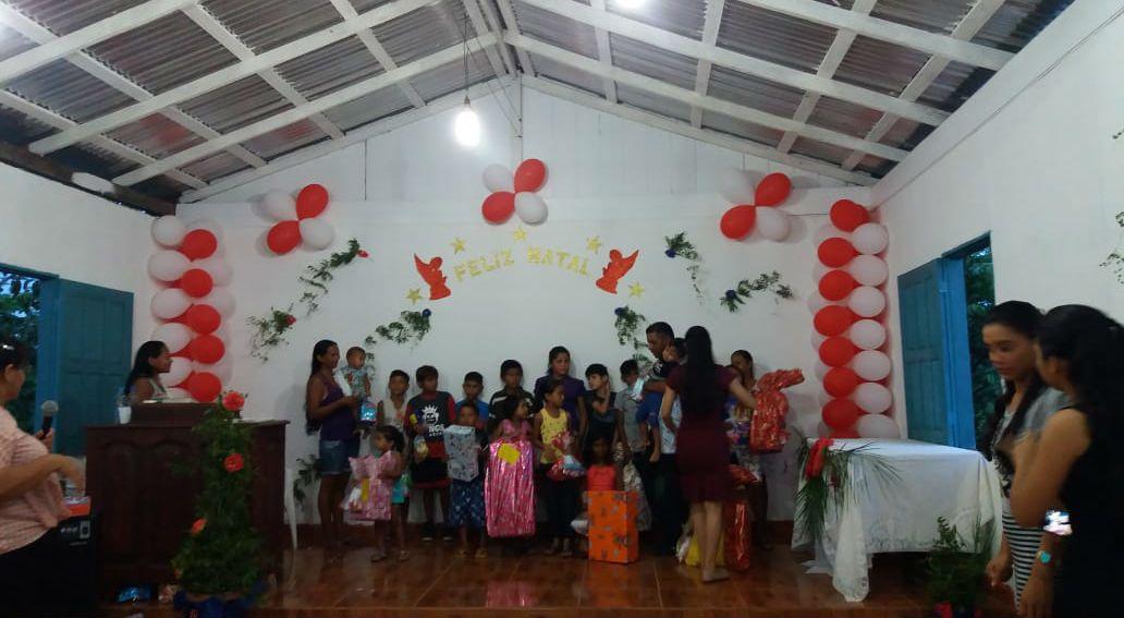 A igreja da Comunidade Indígena Lago do Cana realiza culto especial de Natal